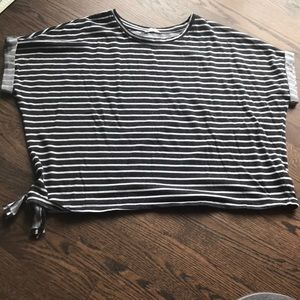Blue/grey and white striped top